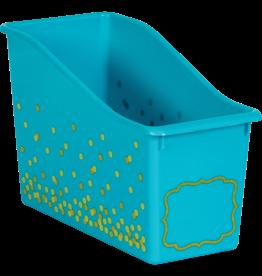 Confetti Teal Confetti Plastic Book Bin