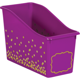 Purple Confetti Plastic Book Bin