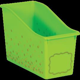 Lime Confetti Plastic Book Bin