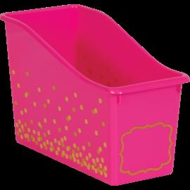 Confetti Pink Confetti Plastic Book Bin