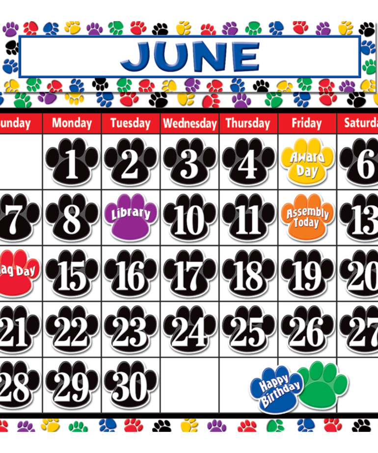 Colorful Paw Prints Calendar Bulletin Board Set