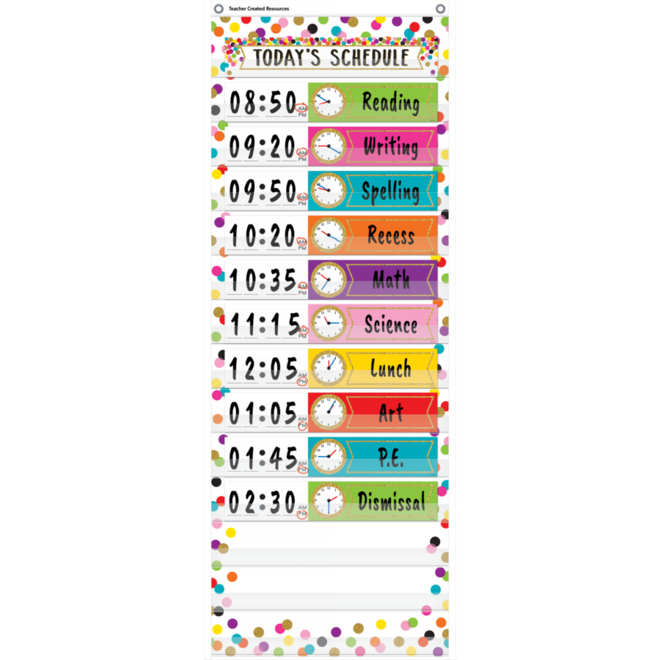 Confetti Schedule Pocket Chart