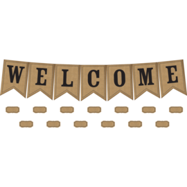 Shabby Chic Burlap Pennants Welcome Bulletin Board