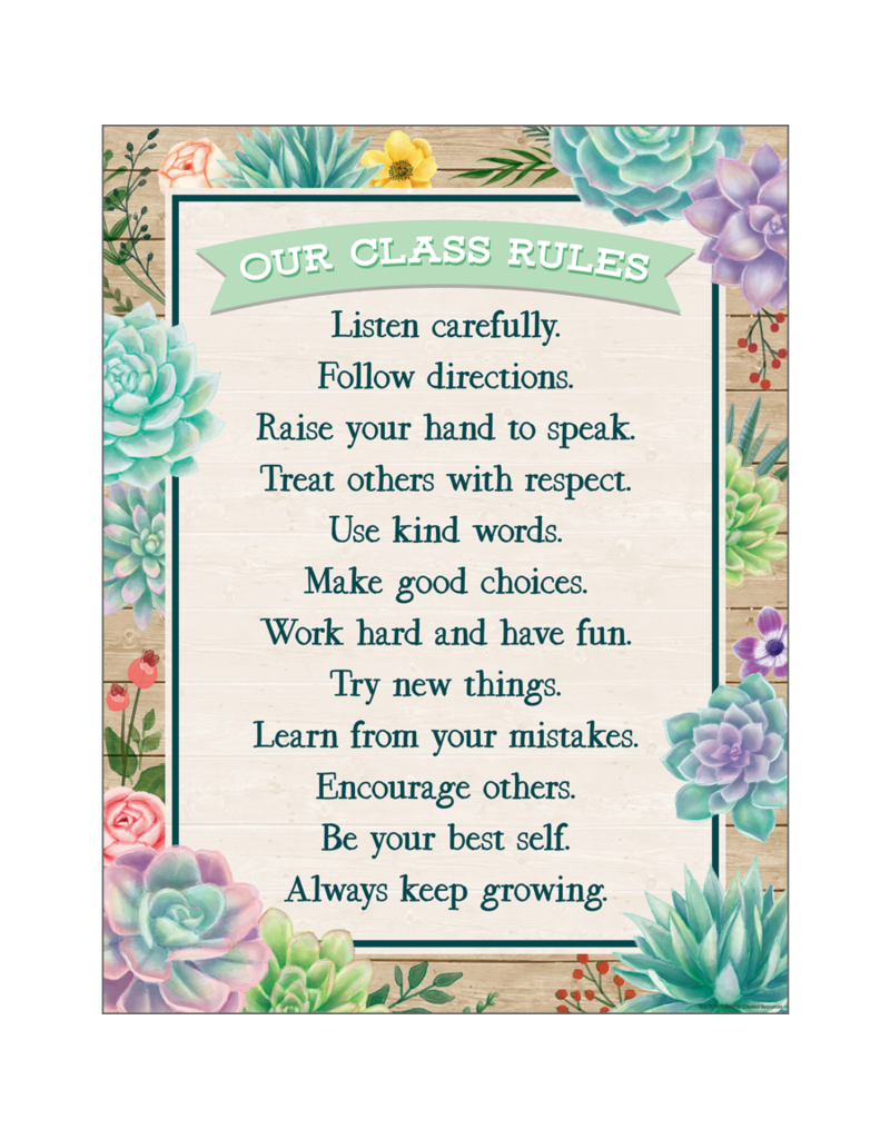 Rustic Bloom Classroom Rules Chart