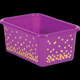Purple Confetti Small Plastic Storage Bin