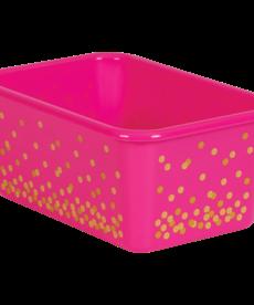 PInk Confetti Small Plastic Storage Bin
