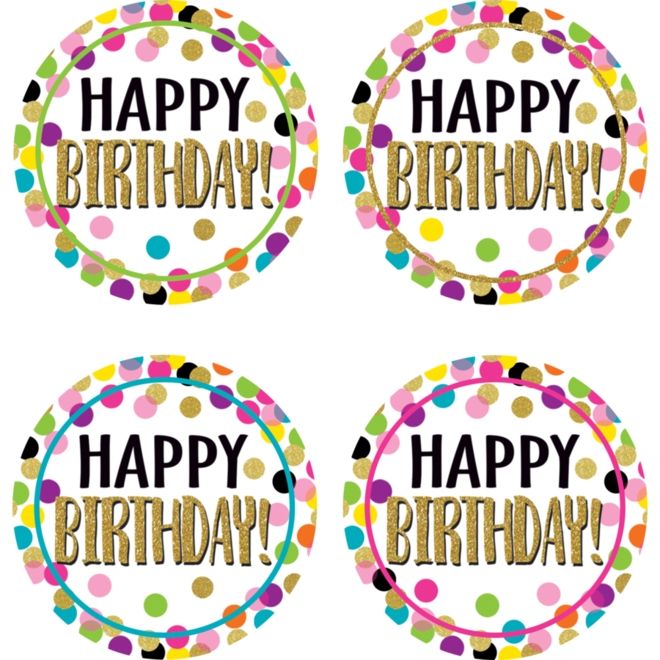 Confetti Happy BIrthday Wear'em Badges