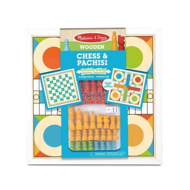 Melissa & Doug Wooden Chess & Pachisi