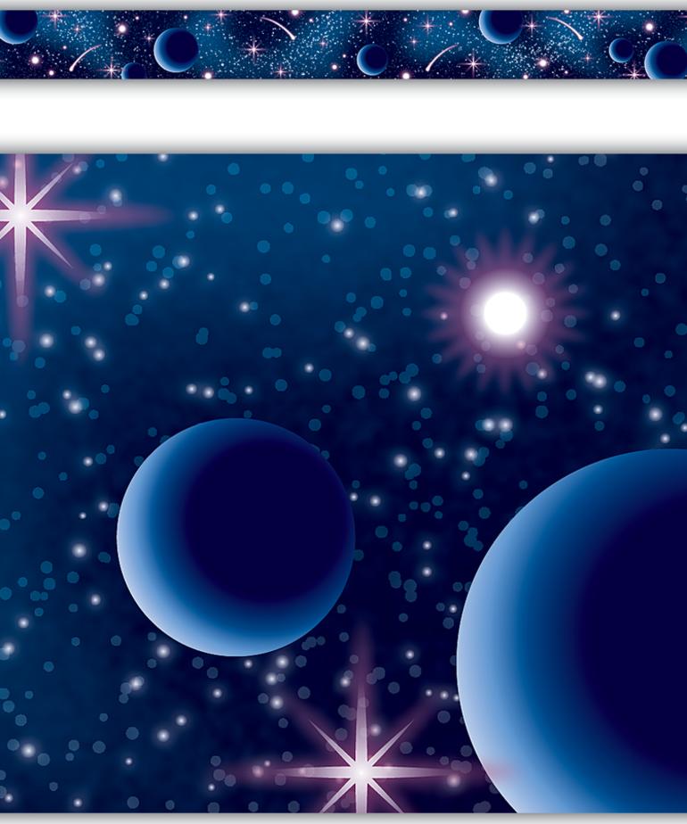 Blue Stellar Space Straight Border Trim