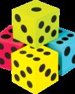 Colorful Jumbo Dice 4pk