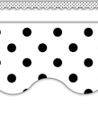 Black Polka Dots on White Scalloped Border Trim