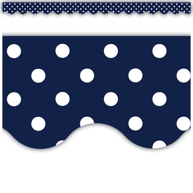 Navy Polka Dot Scalloped Trim