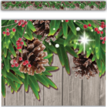 Winter Pine Cones Straight Border