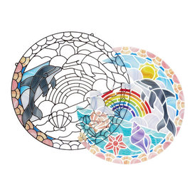 Stained Glass-Dolphins