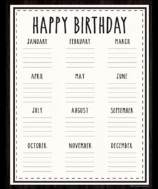 Modern Farmhouse Happy Birthday Chart