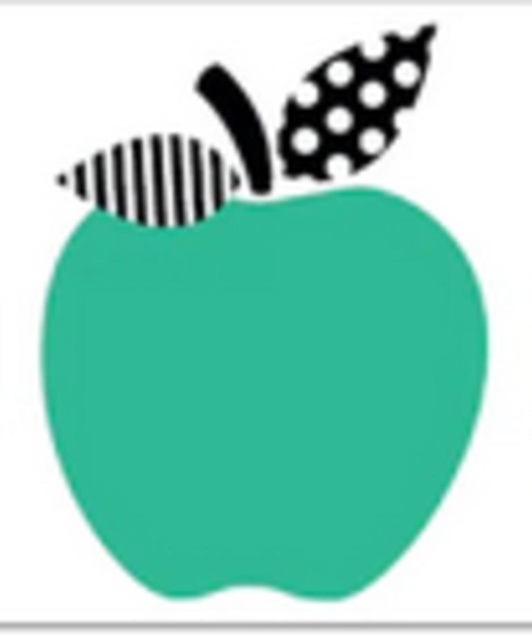 Black, White & Stylish Brights Apple Border