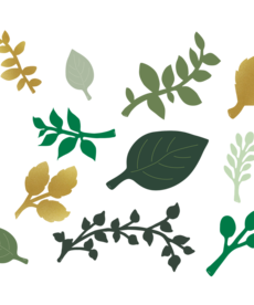 Green and Gold Leaves Accent