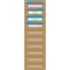 Burlap 10 Pocket File Storage Pocket Chart