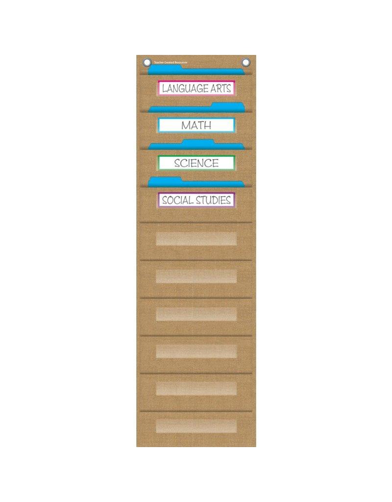 Burlap 10 Pocket File Storage Pocket Chart