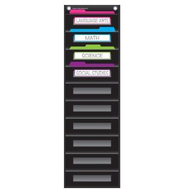 Black 10 Pocket File Storage Pocket Chart