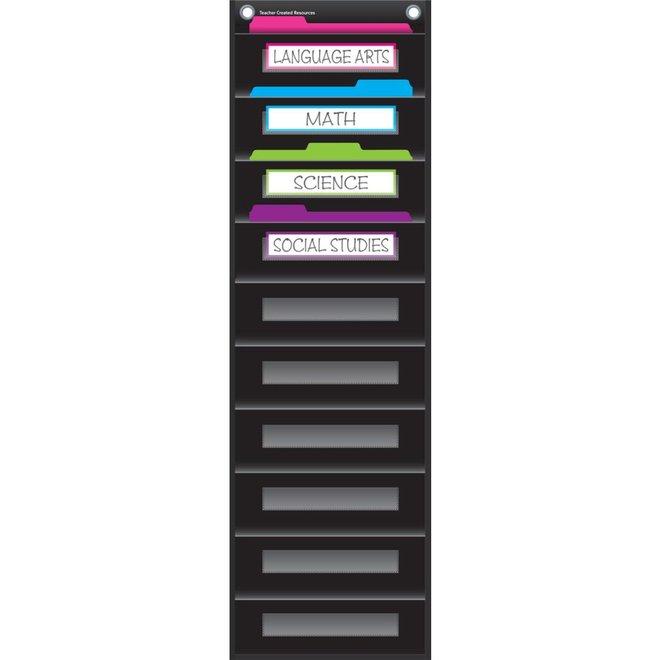 Black 10 Pocket File Storage Pocket Chart