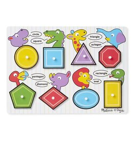 Melissa & Doug Wooden Peg Puzzle- Shapes