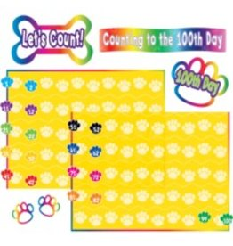 Paw Prints Counting to 100 Bulletin Board Display