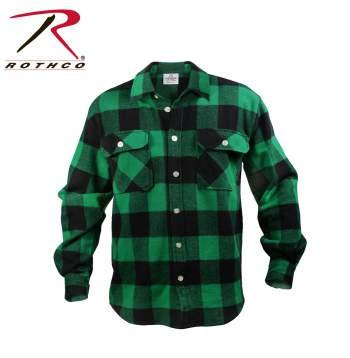 Extra Heavyweight Buffalo Plaid Flannel Shirt - Green