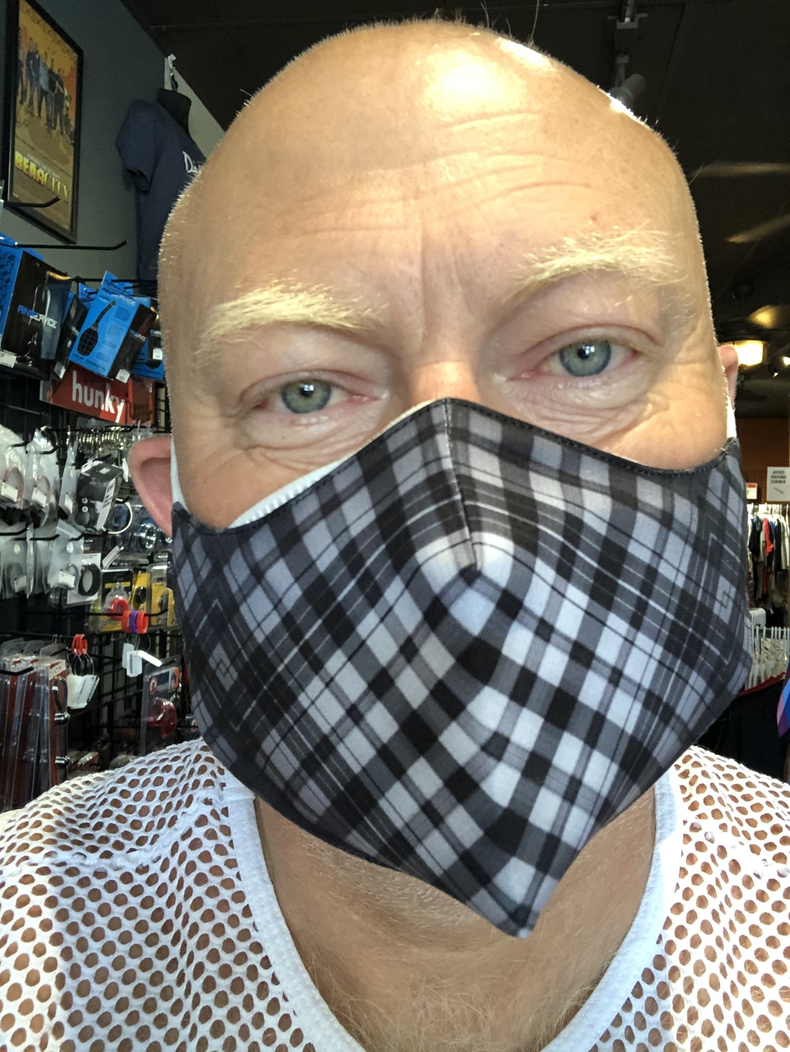 Face Mask, Which one is you? Black/Grey Tartan