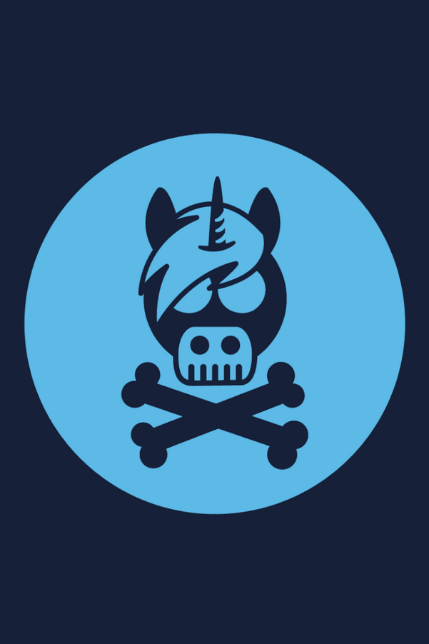 Cross Bones Unicorn Hoodie, Navy