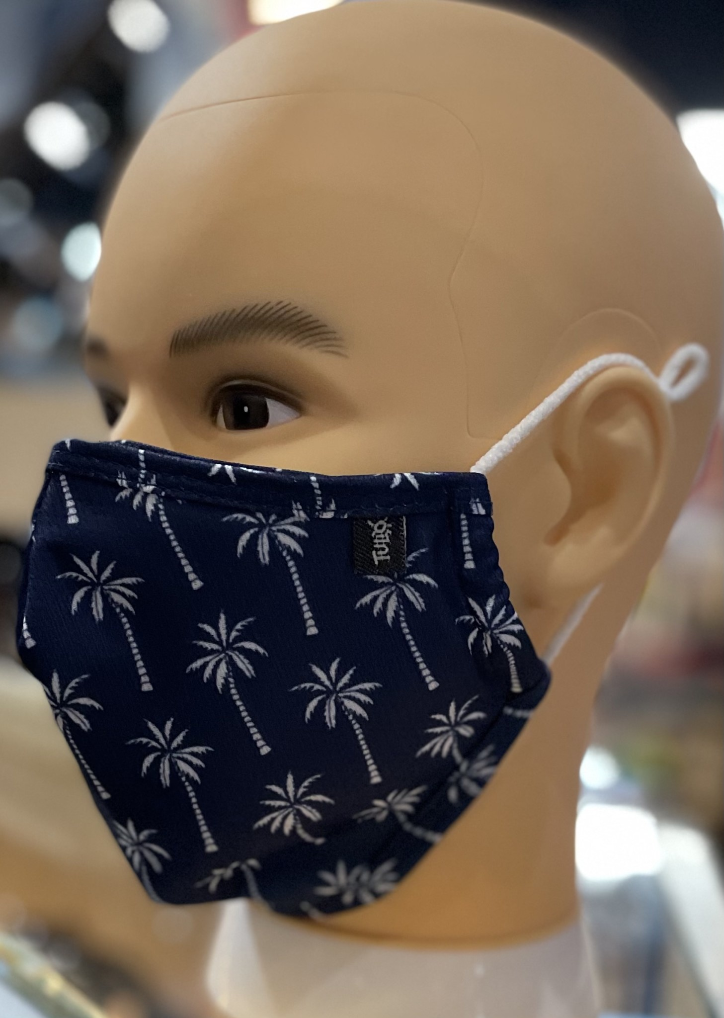 XL Face Mask, Bigger bear sized. Palm Trees Navy