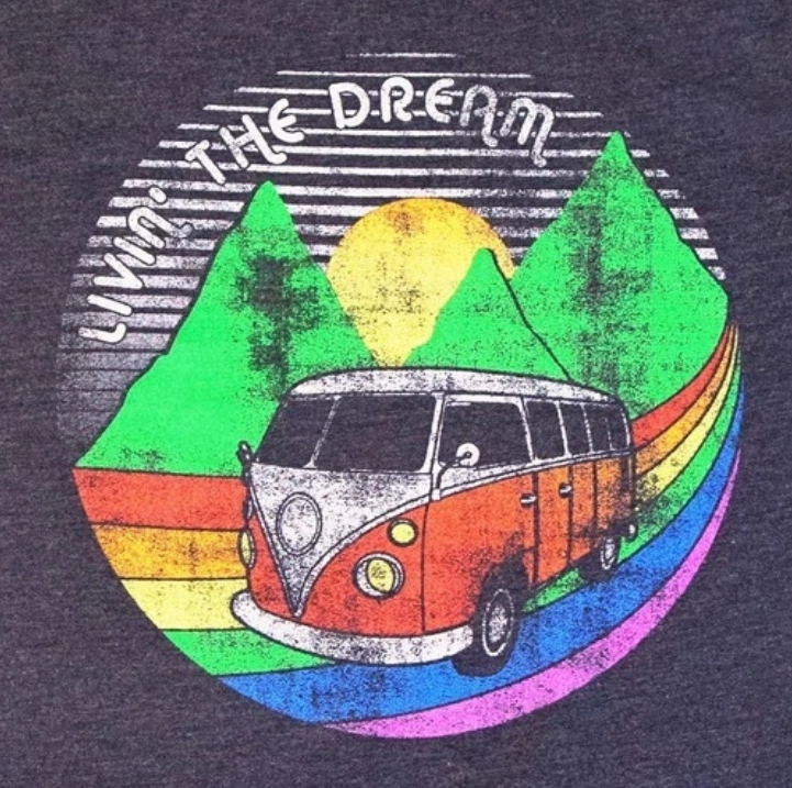 Road Trip - Living the Dream - Pride Tee on Navy Heather