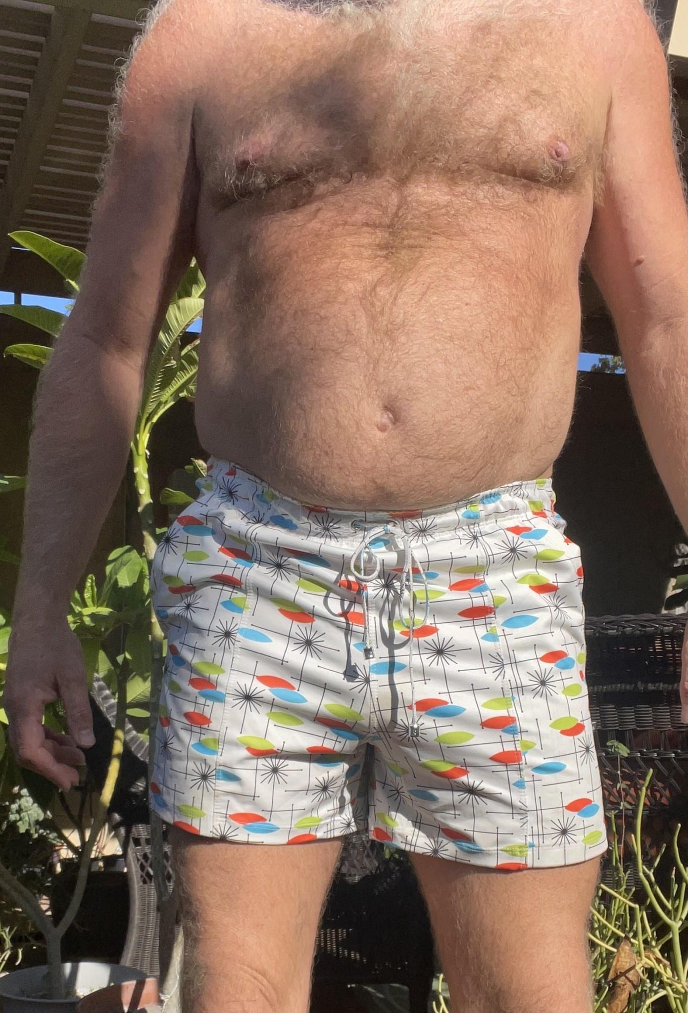 Mid Century Swim Pocket Short, White