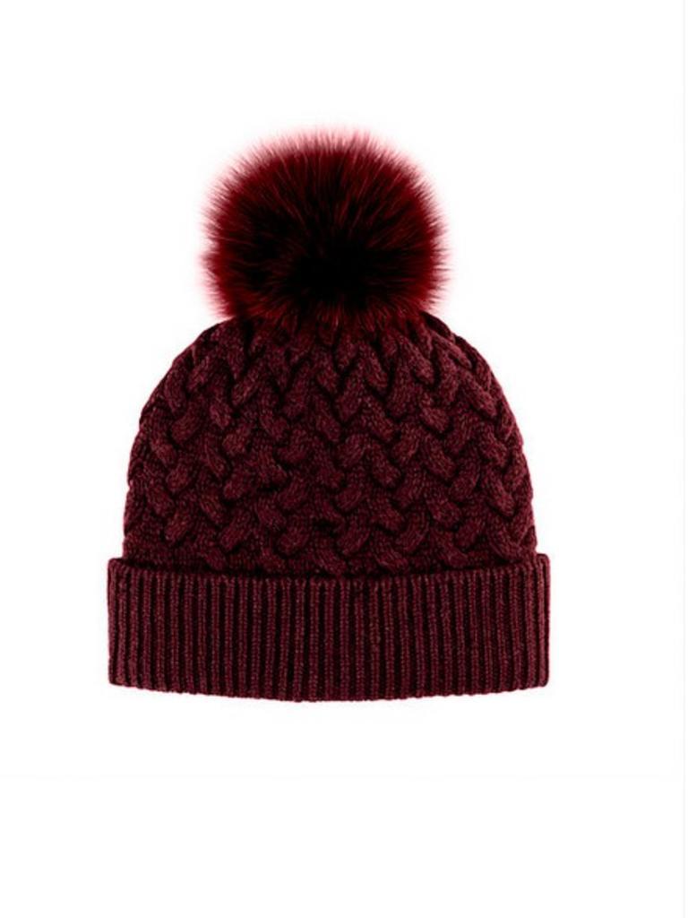36a3ed97b IMH5 Wool Knit Hat Fox Pom