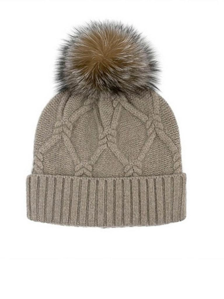 IMH10 Wool Knit Hat Fox Pom - Rowe Boutique 59be282fa23