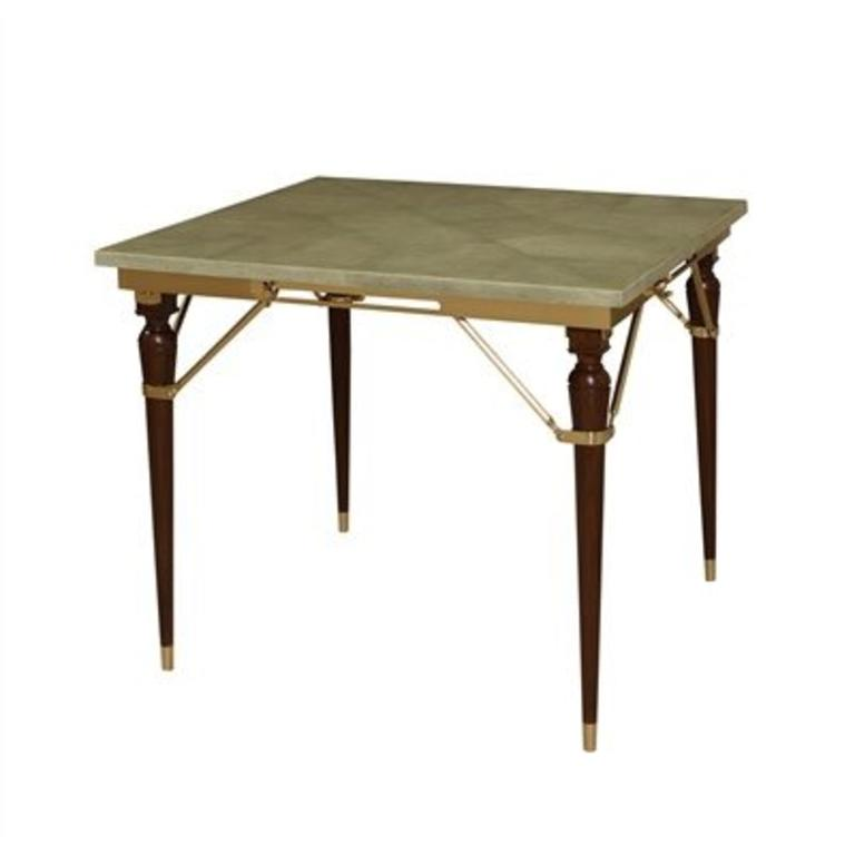 Maitland Smith Lacoste Rosewood Folding Table Moss Green Faux Reen Leather Top