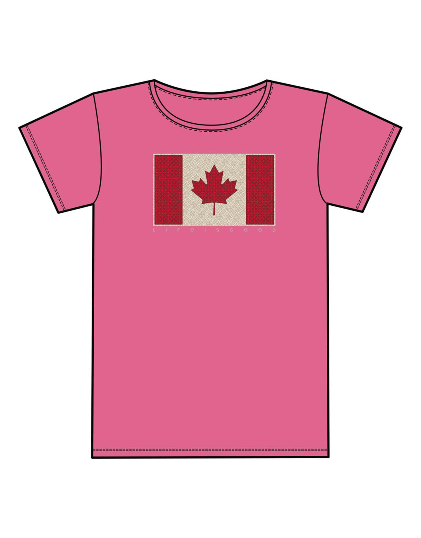 Life is Good LIG JR Girls crusher Canada flag S19
