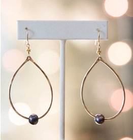 Robin Haley Black Pearl 14K Gold Hammered Large Teardrop Earrings