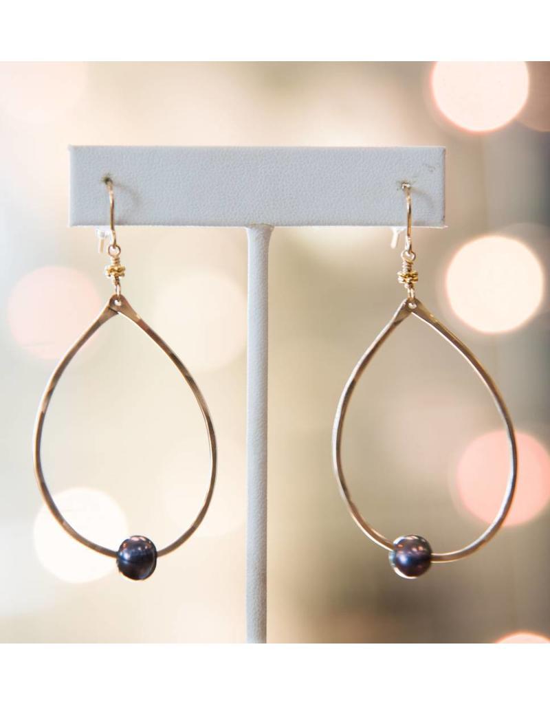 Robin Haley Black Pearl 14K Gold Hammered Large Teardrop Earrings