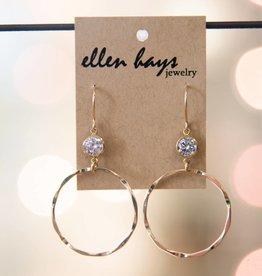 Ellen Hays Gold Filled Hammered Crystal Earring