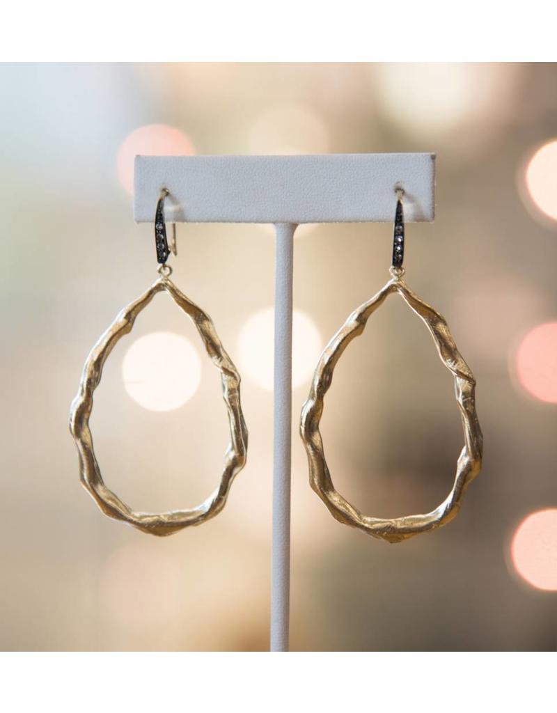 Robin Haley Gold Twist Oval White Topaz Earring
