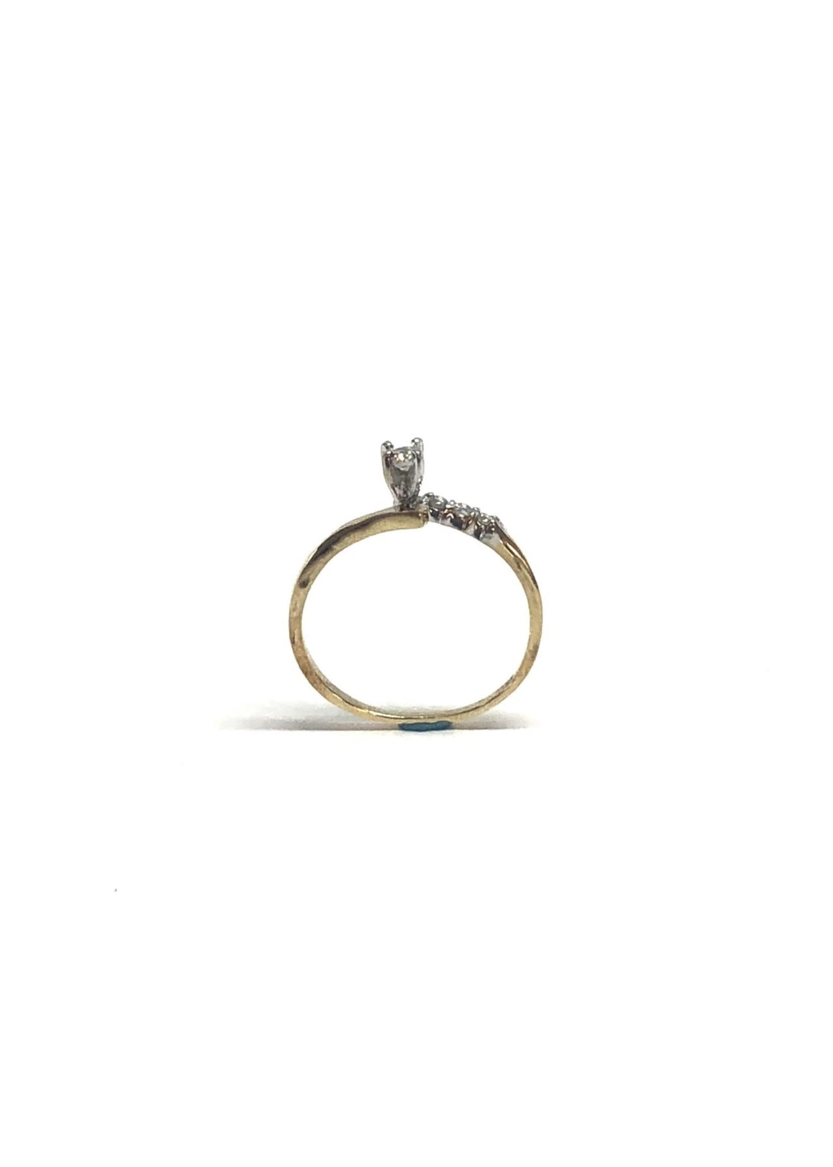 Bague semi-croisée Or 10K avec diamants