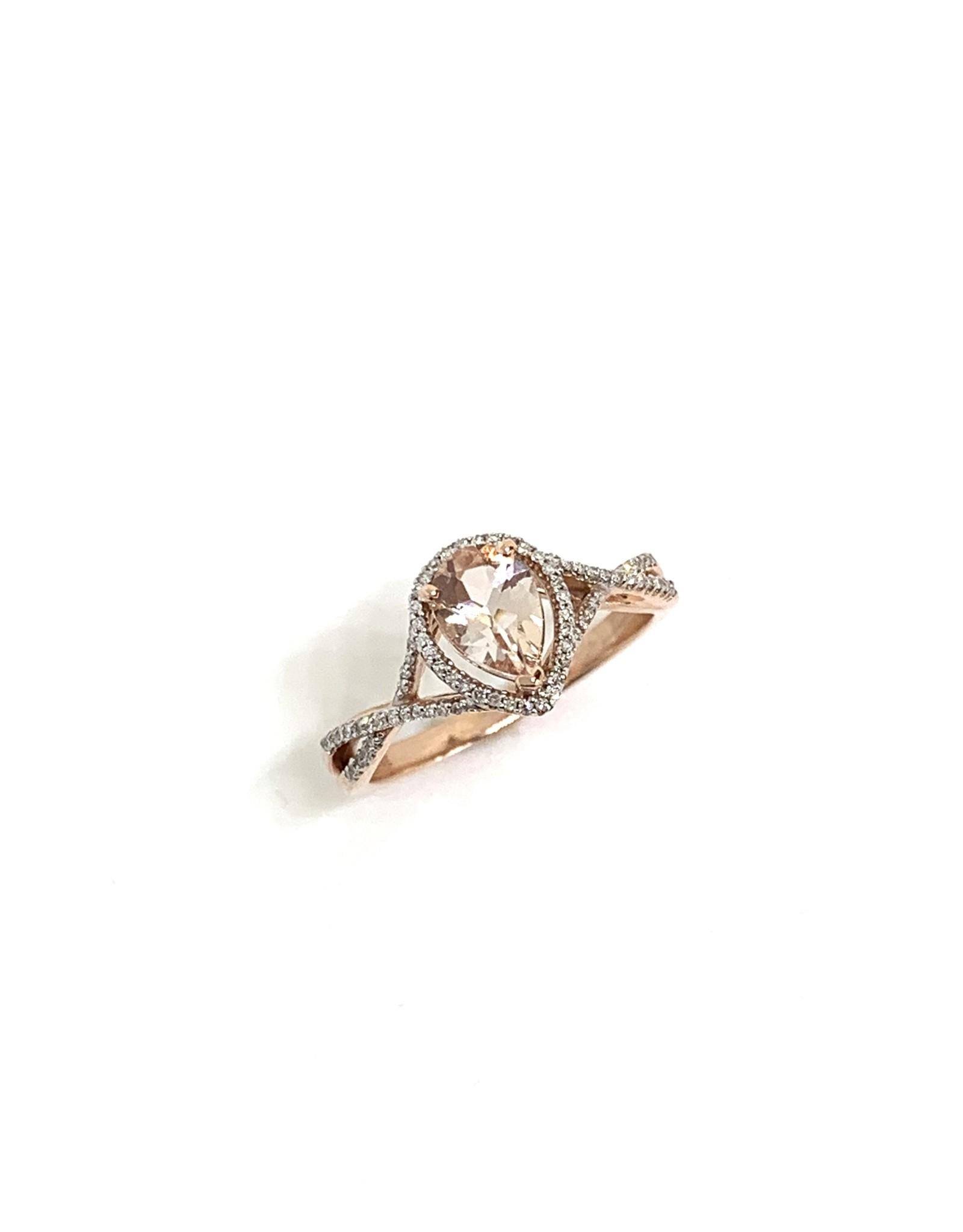 Bague croisée Or rose 10K avec morganite poire et diamants