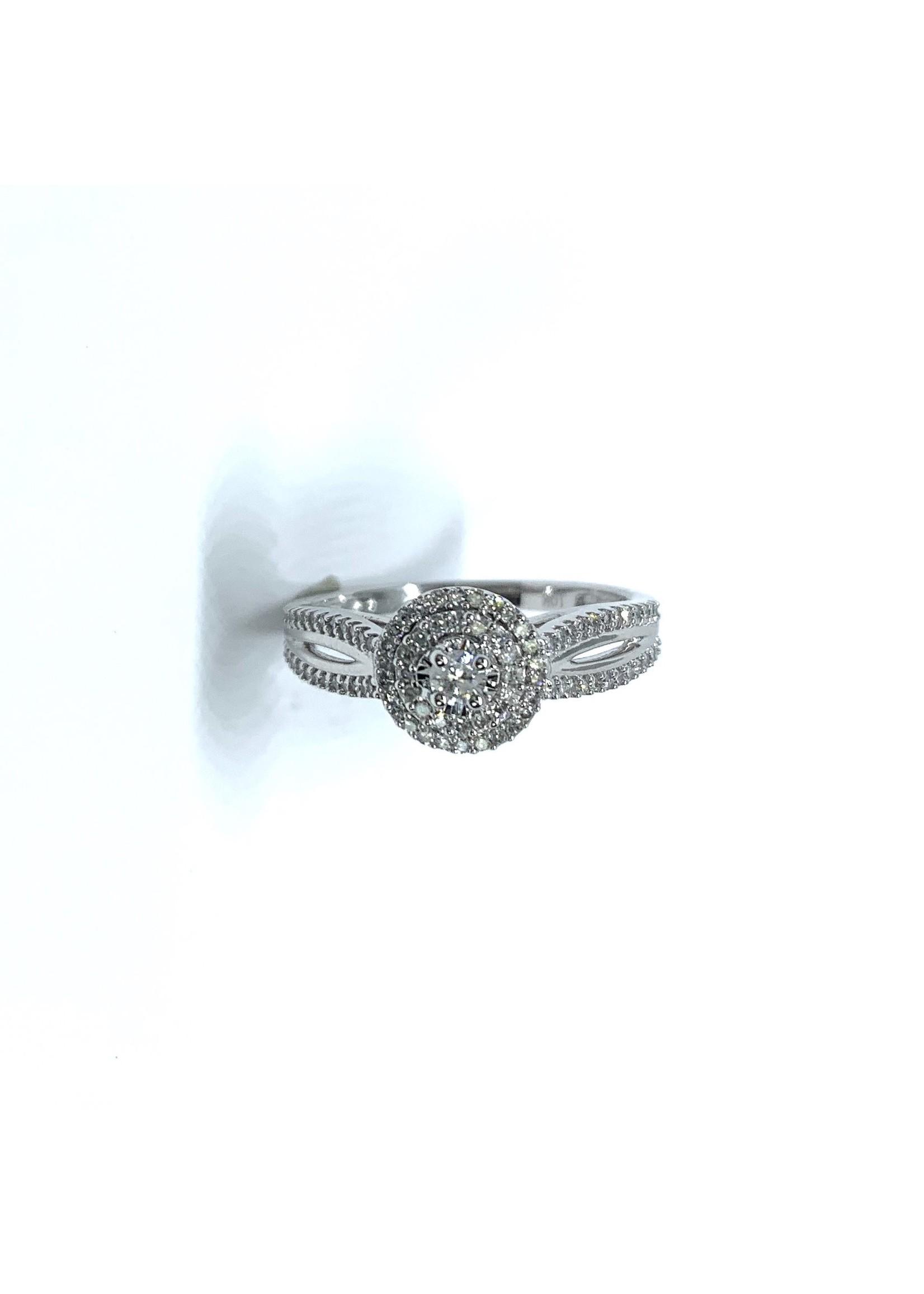 Bague de fiançailles halo double Or blanc 10K avec diamants