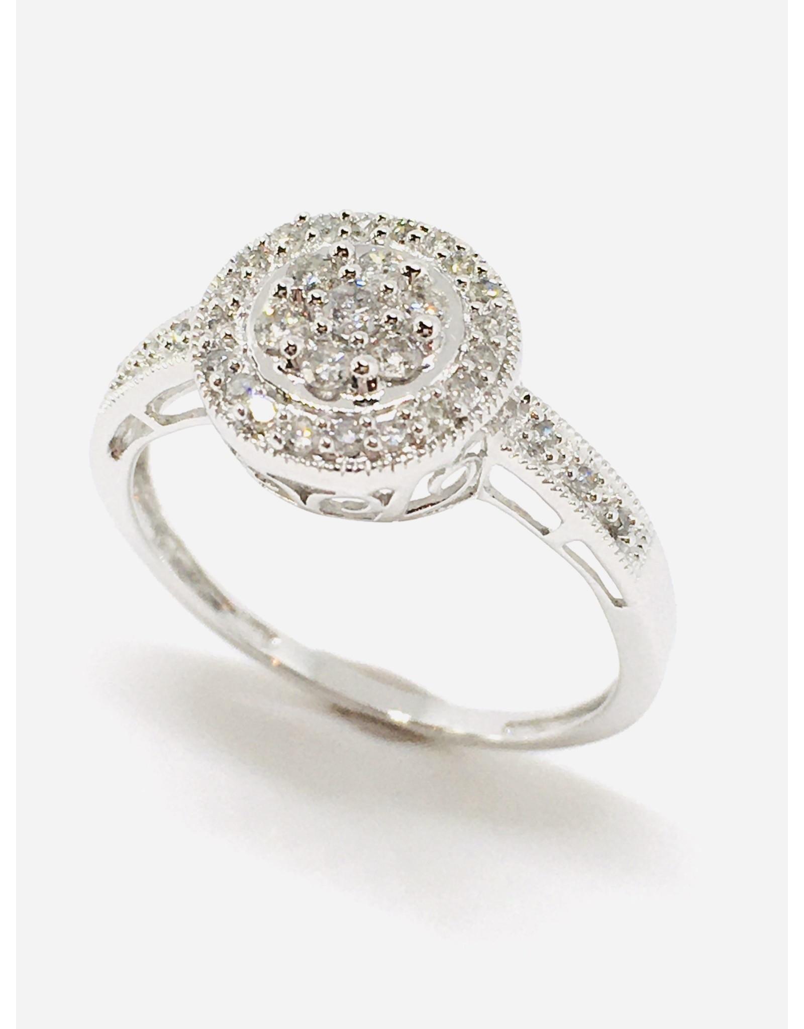 Bague halo illusion Or blanc 10K avec diamants