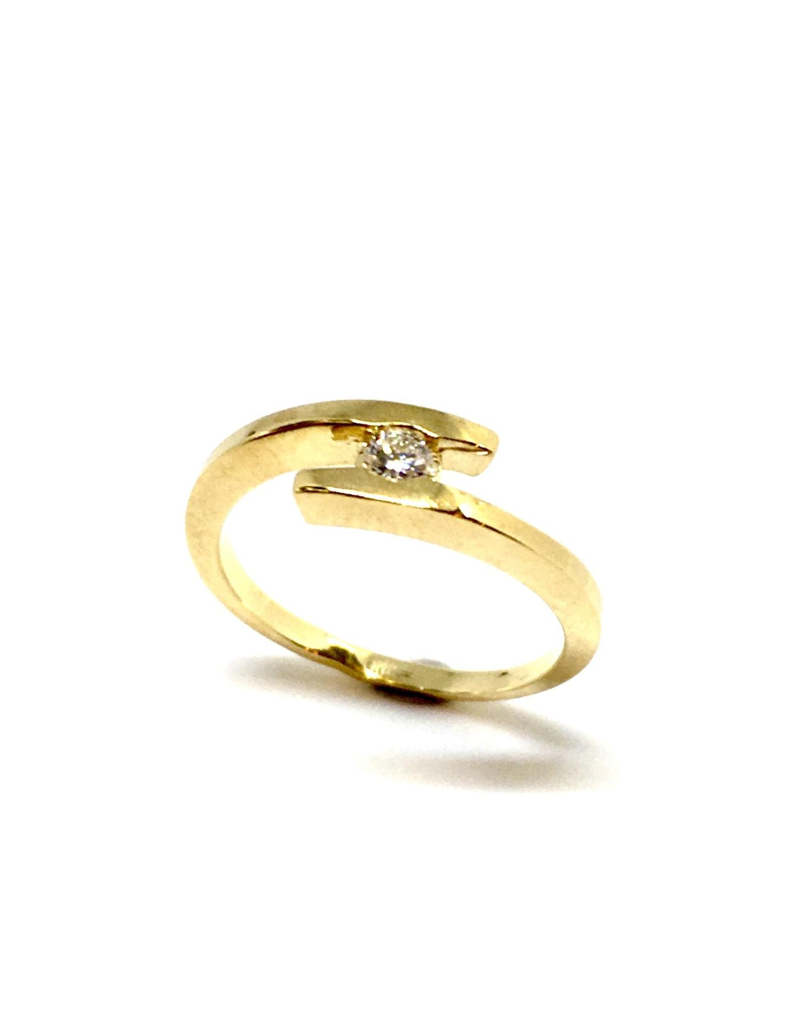 Bague semi croisée Or 10K avec diamant
