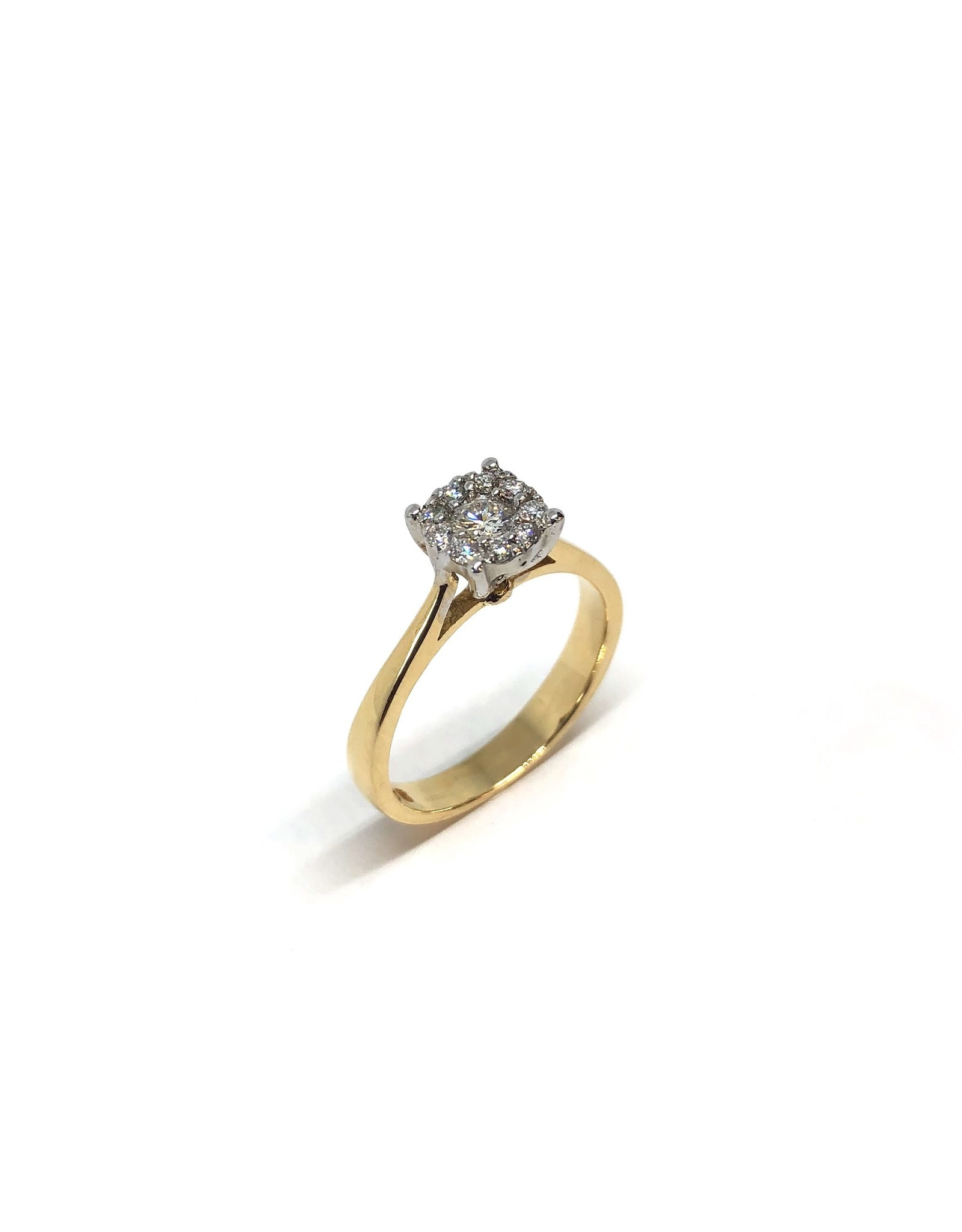 PARÉ Bague solitaire illusion Or 14K avec diamants