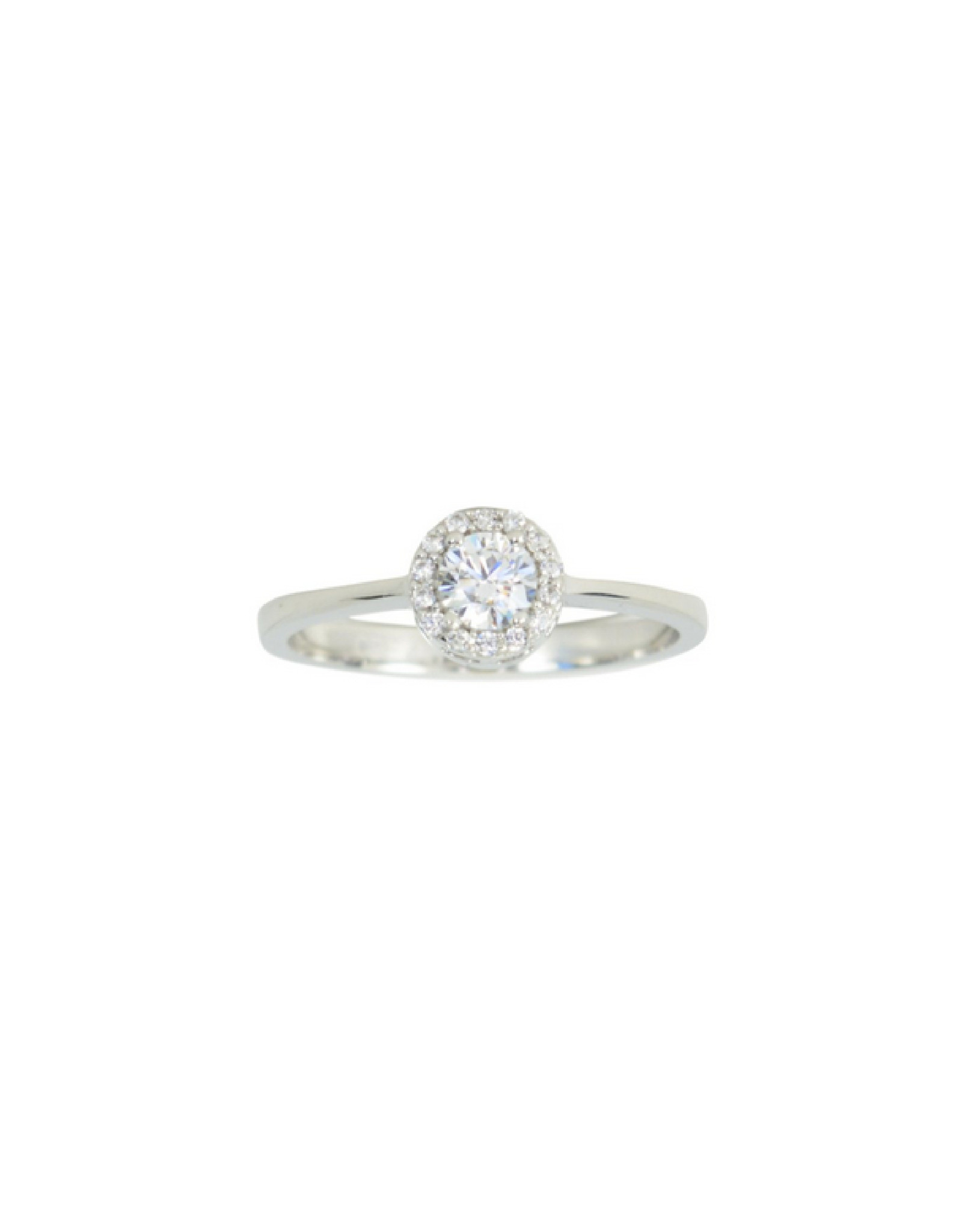 Bague solitaire halo Or blanc 10K