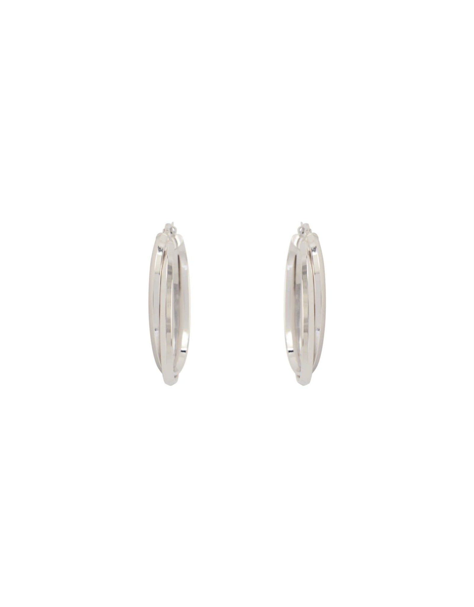 Boucles d'oreilles Anneaux Ovales double croisé Or blanc 10K