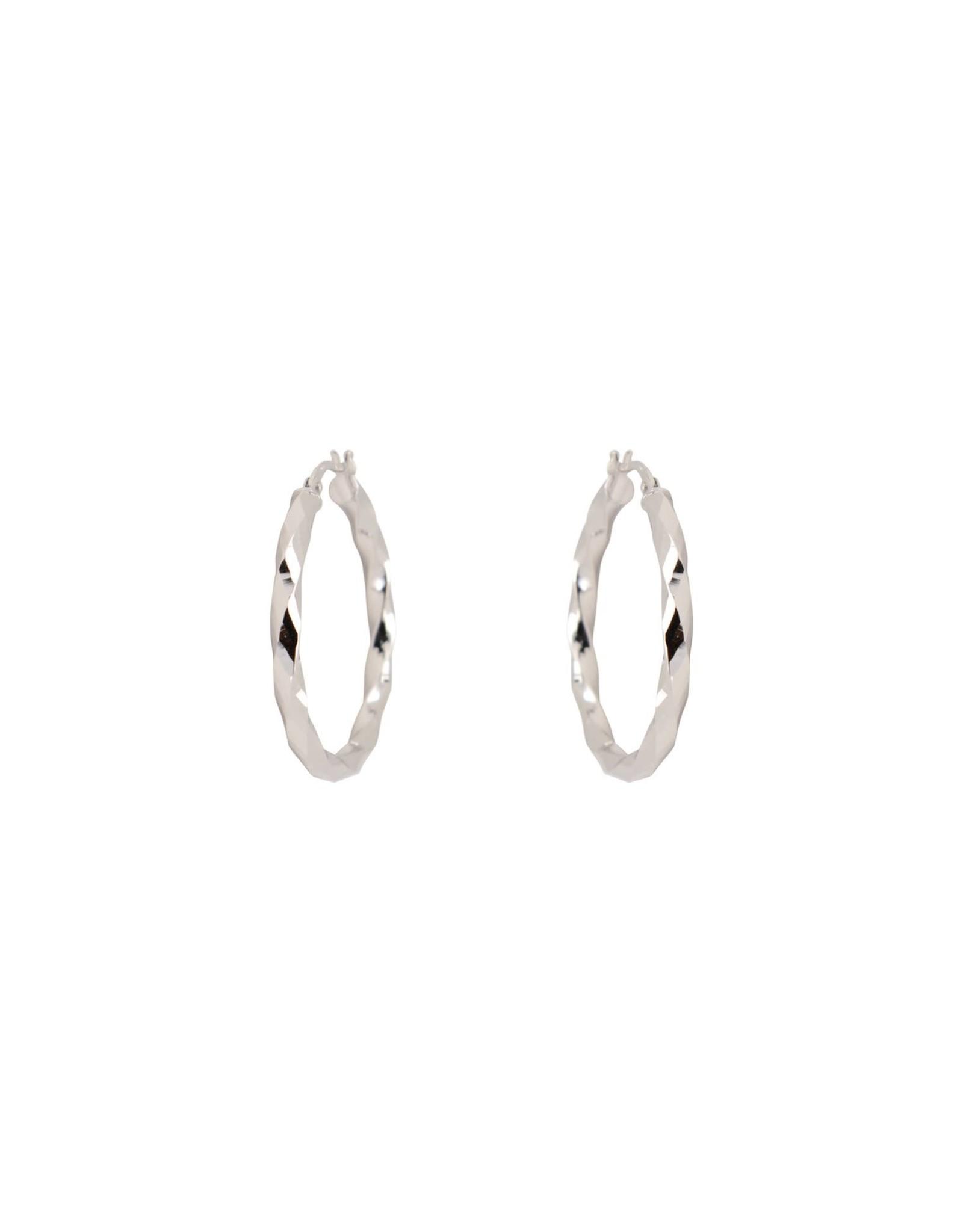 Boucles d'oreilles Anneaux miroirs Or blanc 10K